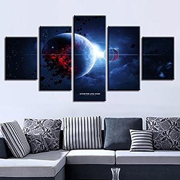 Malerei Frame HD Gedruckt Modernes Wohnzimmer Leinwand 5 Panel Planet  Landschaft Wall Art Modulare Poster Home