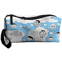 Learn Swimming Penguin Portable Travel Makeup Bag Essential Carrying Case Good For Jewelry