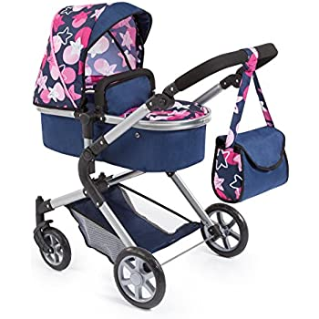 Bayer Design 18169AA Dolls Pram City Neo with Changing Bag and Underneath Shopping Basket, Convertable to a Pushchair, Blue/Pink