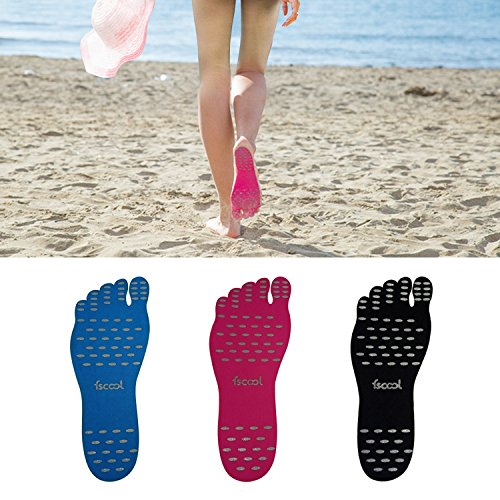 Stick on Shoes, Fscool Adhesive Foot Pads Invisible Barefoot Shoes, Waterproof Feet Soles Protection Sticker for Walking, Beach and Water Sports (Black, XL - Watersports Black