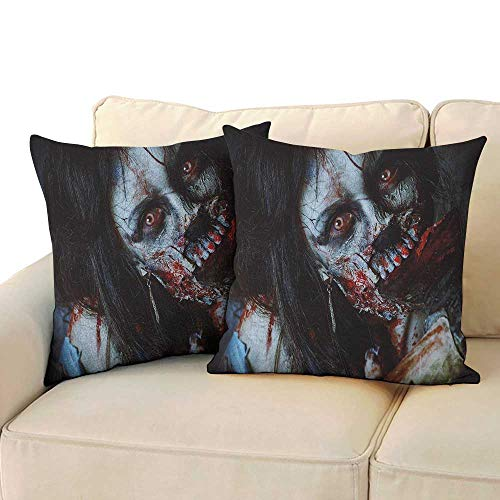 RenteriaDecor Zombie,Couple Pillowcase Scary Dead Woman with a Bloody Axe Evil Fantasy Gothic Mystery Halloween Picture 16