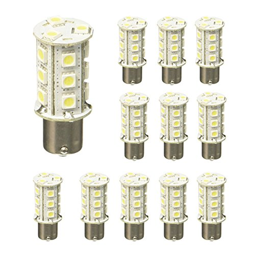(LEDwholesalers BA15S 1156 Base Single Contact Bayonet LED Bulb, White, Pack of 12 Bulbs, 1419WHx12 (Pack of 12 Bulbs))