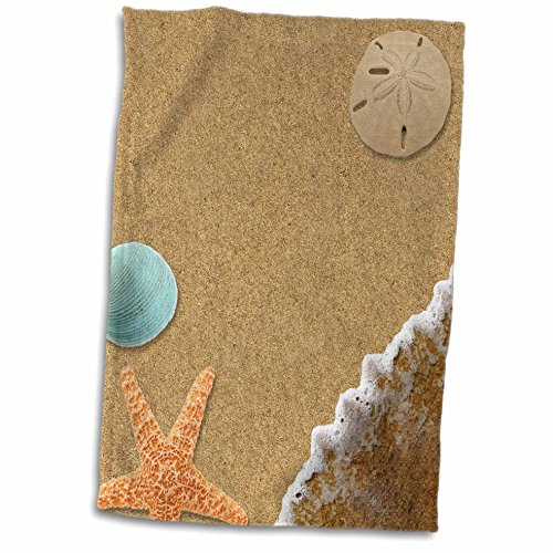 3dRose 3D Rose Sandy Beach with Shells twl_172139_1 Towel, 1