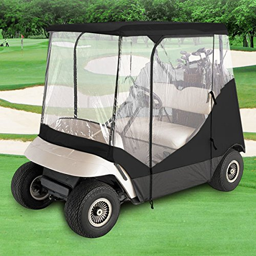 North East Harbor Waterproof Superior Black and Transparent Golf CART Cover Covers Enclosure Club CAR, EZGO, Yamaha, FITS Most Two-Person Golf CARTS ()