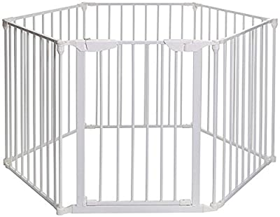 Teekland Super Wide Adjustable Gate and Play Yard?Baby Playpen?Fireplace Fence,Wide Barrier Gate Black/White/Multi(4/6/8panels)