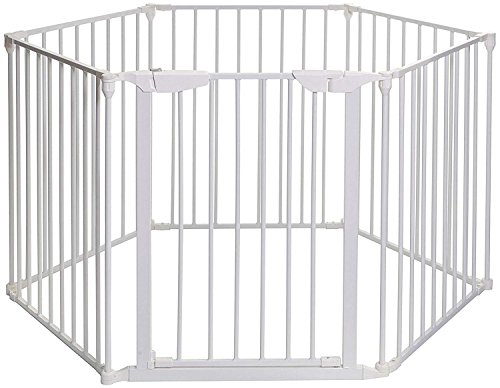 Teekland White Baby Safety Gate/Baby Protect Walls/Fireplace Fence/Dog Gates Indoor/Play Yard with Door,6 Panels Fireplace Extended Metal Fence for Pet/Toddler/Dog/Cat/Christmas Tree by Teekland (Image #8)