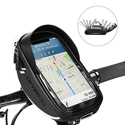 "Bike Bicycle Phone Bags Waterproof – Front Frame Top Tube Mount Handlebar Bags with Touch Screen Phone Holder Case Sports Bicycle Bike Storage Bag Cycling Pack Fits 6.5""iPhone 7 8 Plus xs max"
