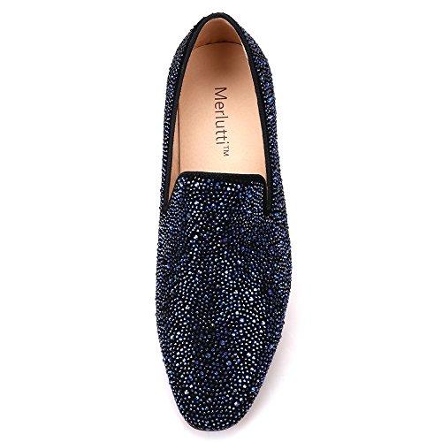 7dd1861f408 Blue Crystals Black Suede Flat Velvet Loafer Men s Loafers and Slip-ons  special occasion dress