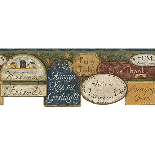 York Wallcoverings FK3948B Border Book It's A Wonderful Life Border, Off White/Burgundy/Green