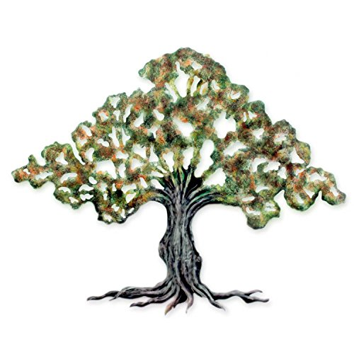 NOVICA Leaf And Tree Large Steel Wall Mural, Brown 'Tule Tree'