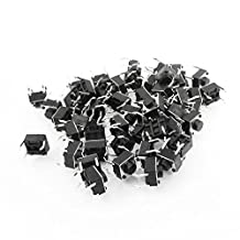 SODIAL(R) 50 Pcs 6x6x5mm 4-Pin DIP Through Hole Momentary Tactile Push Button Switch
