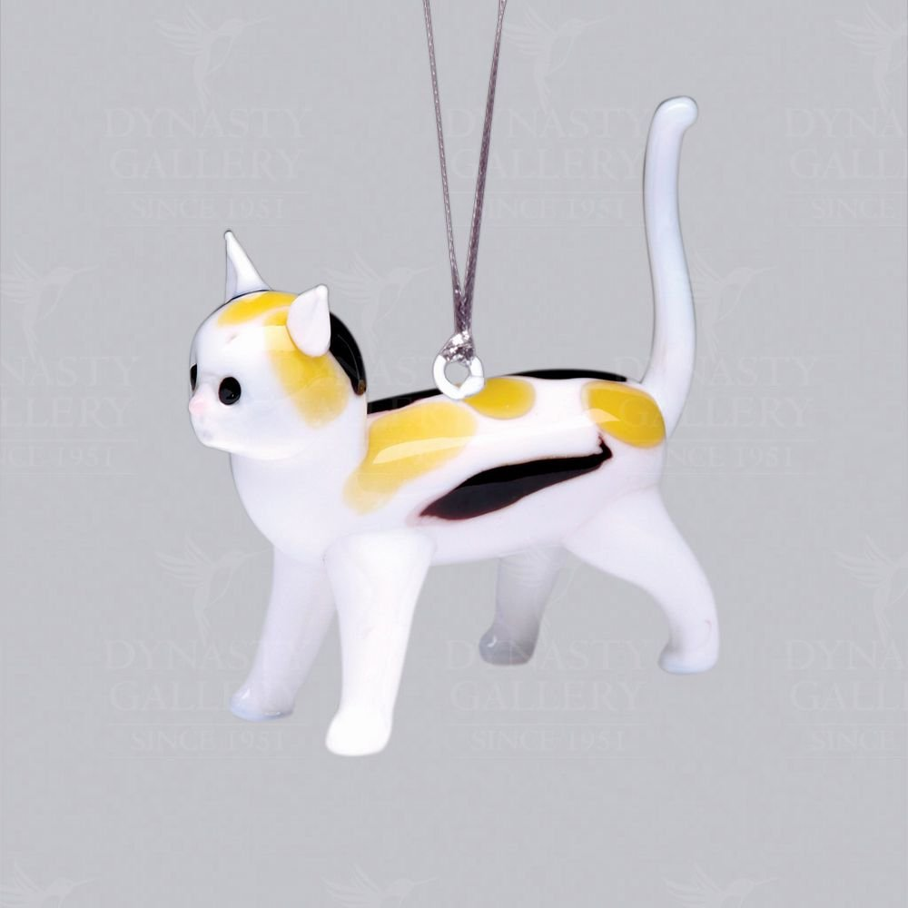 Hand Crafted Glass Christmas Tree Ornament or Figurine, Calico Cat