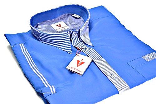 Leché Designerhemd in Royalblau mit blau-weiß gestreifter Knopfleiste