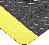 NoTrax 510 Vinyl Diamond-Tuff Max Anti-Fatigue/Anti-Slip Floor Mat, 3' Width x 5' Length x 1'' Thickness, Black/Yellow