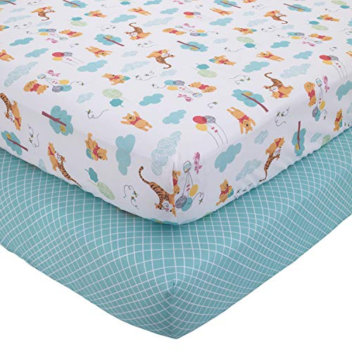 Disney Winnie The Pooh First Best Friends 2 Piece Fitted Crib Sheets, Aqua/Yellow/Gold