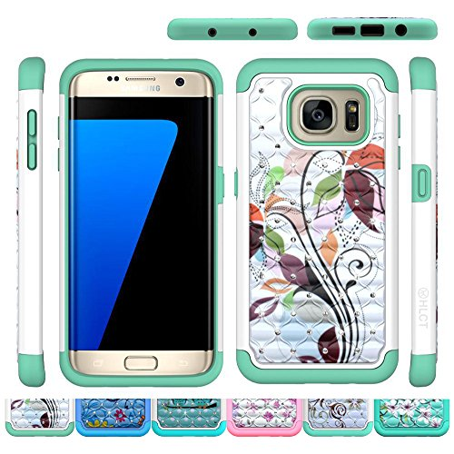Galaxy S7 Edge Case, HLCT Bling Diamond Shock Proof Dual Layer PC and Soft Silicone Case for Galaxy S7 Edge...