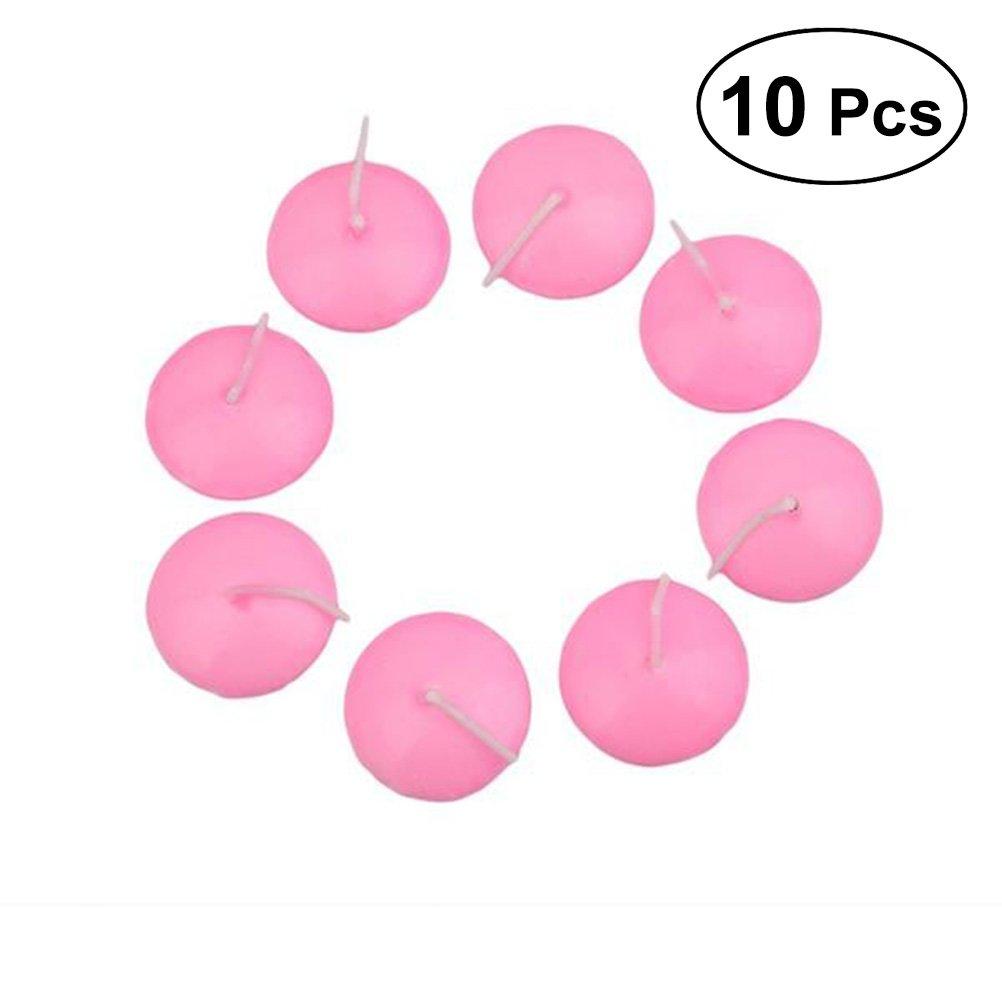 ROSENICE Candele galleggianti senza aroma e fumo compleanno decorazione della festa nuziale 10pcs (Rosa)