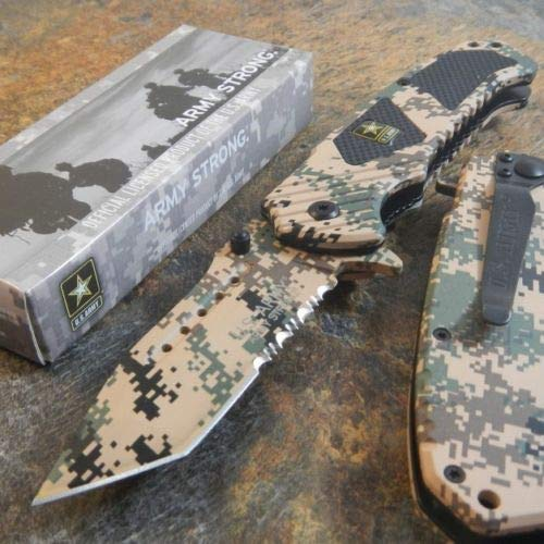 Tactical Hunting Knife - Survival Knife - Stainless Steel - Army Spring Assisted Opening Tanto Folding Pocket Desert CAMO