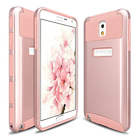 Note 3 Case, Galaxy Note 3 Case, Hinpia 2 in 1 Hybrid Shock Resistant Rubber Slim Hard Case Cover for Samsung Galaxy Note 3 Note III N9000 All Carriers (Rose Gold/Rose (Galaxy Note 2 3 Layer Case)