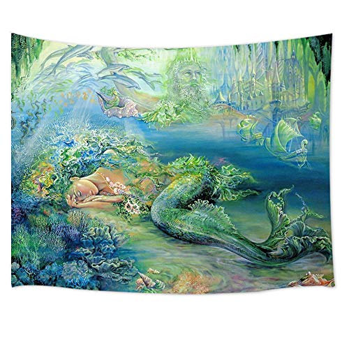 JAWO Mermaid Decor Tapestry Wall Hanging, Underwater World Palace and Sleeping Mermaid with Dolphin, Polyester Fabric Wall Tapestry for Home Living Room Bedroom Dorm Decor 80W X 60L Inches