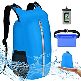VBIGER Sac Etanche Sacs Imperméables Sac à Dos Étanche Dry Bag 20L pour Kayak Bateau Canoeing Piscine Rafting Camping…