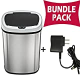 SensorCan 13 Gallon Automatic Touchless Sensor Trash Can with AC Adapter - Battery Free - Stainless Steel - Oval Shape