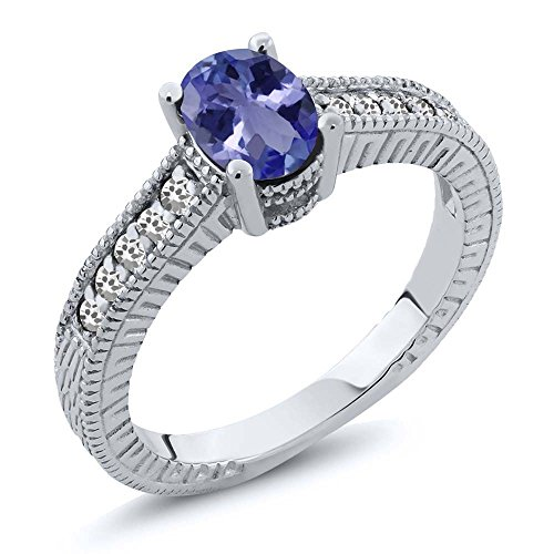 1.04 Ct Oval Blue Tanzanite AAA White Sapphire 925 Sterling Silver Engagement Ring by Gem Stone King