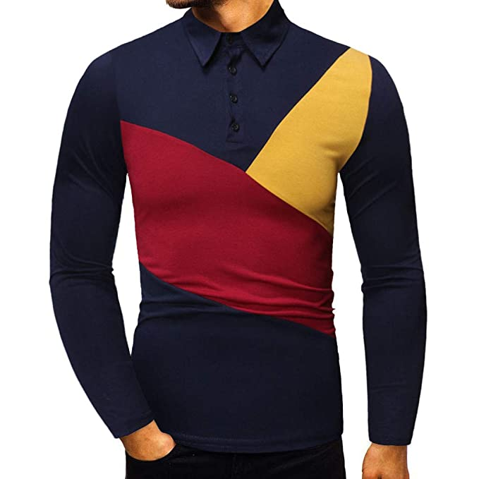 LANSKIRT_Camisas Hombre A Rayas y Multicolor Camisetas Manga Larga ...