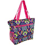 Silverhooks Womens Aztec Beach Tote Bag w/ Pink Trim (Blue)