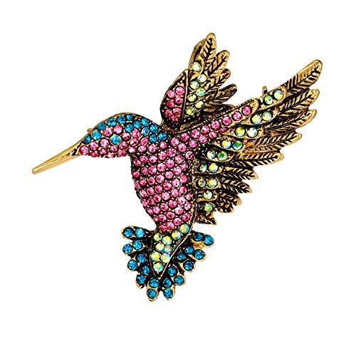 Finance Plan Brooch Clip Scarves Shawl Collars Clip,Women Vintage Rhinestone Multi-Color Hummingbirds Bouquet Jewelry Brooch Pin - -
