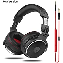 OneOdio Adapter-Free DJ Headphones for Studio Monitoring and Mixing,Sound Isolation, 90° Rotatable Housing with Top Protein Leather Earcups, 50mm Driver Unit Over Ear DJ Headsets with Mic