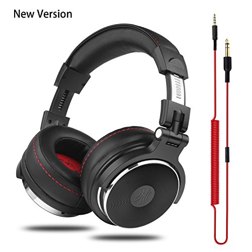 OneOdio Adapter-Free DJ Headphones for Studio Monitoring and Mixing,Sound Isolation, 90° Rotatable Housing with Top Protein Leather Earcups, 50mm Driver Unit Over Ear DJ Headsets with Mic ()