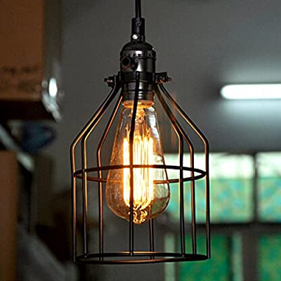 WinSoon Antique Iron Cage Edsion Design Pendant Light Room Lighting Black