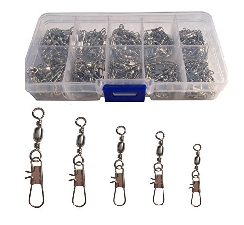 Luengo 100pcs Barrel Swivel with Safty Snap Connector Solid Rings Fishing Swivel snap Connector