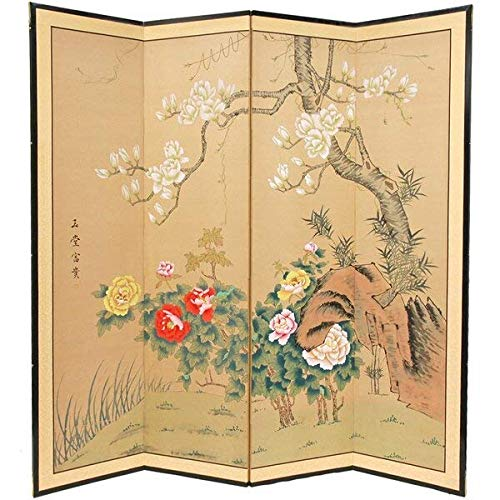 0.625' Rod - Bloomsbury Market Rother Harmony 4 Panel Wood and Silk Covered Paper Room Divider + Free Basic Design Concepts Expert Guide