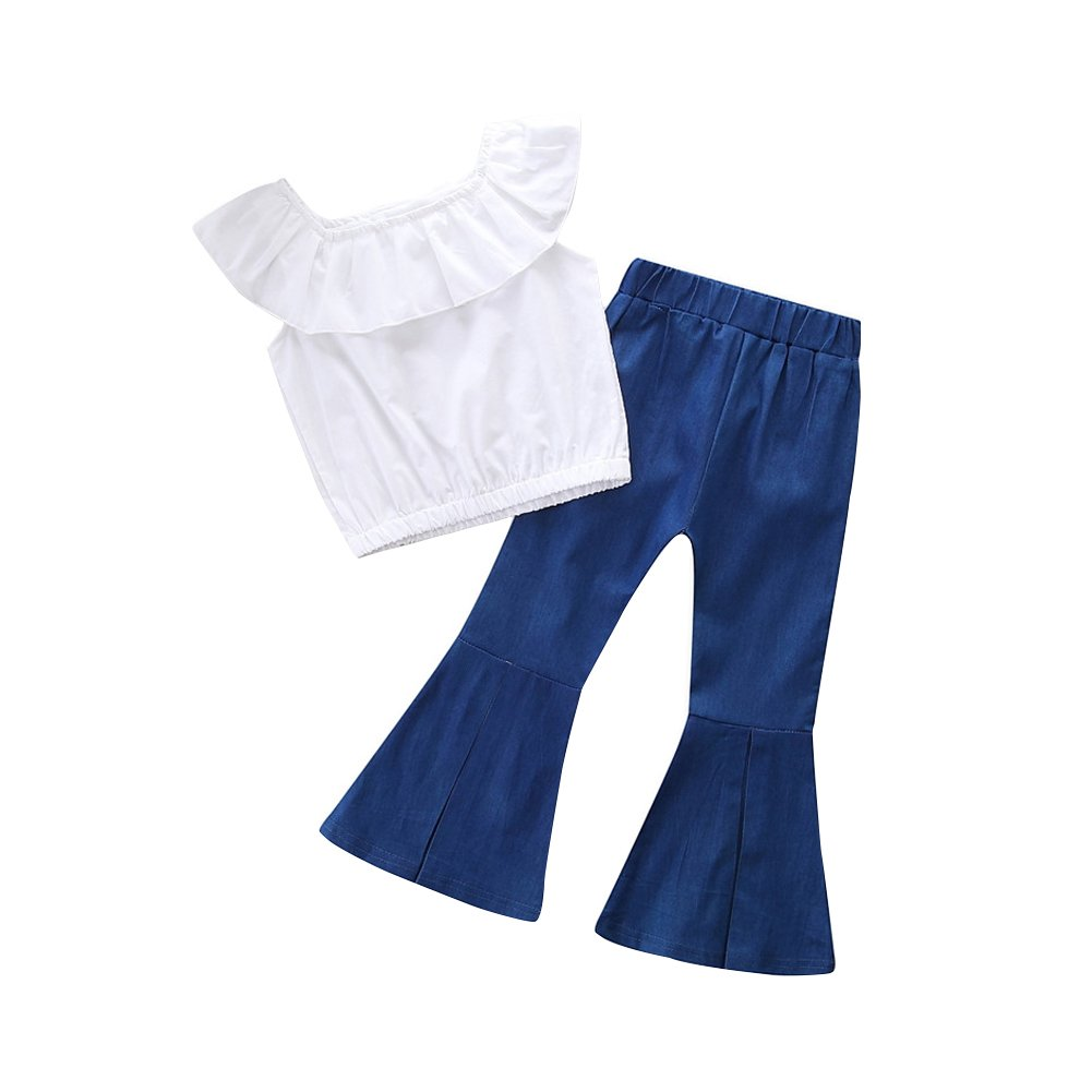 KIDSA 1-6T Toddler Baby Little Girls Clothes Ruffles Off Shoulder Tops + Bell-Bottom Thin Denim Jeans Pants Outfits Set