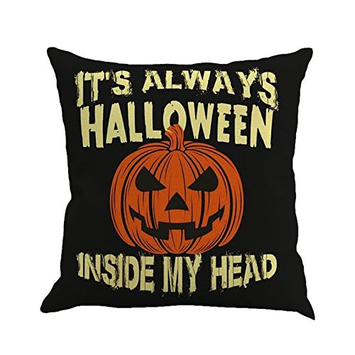 GREFER Pillow Cases Linen Sofa Cushion Cover Home Decor Happy Halloween -