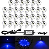 30pcs QACA LED Deck Light Kits 1-1/25'' Half Moon Aluminum Outdoor Wood Deck Lighting Yard Garden Patio Stair LED Light Decoration Lamps, Blue