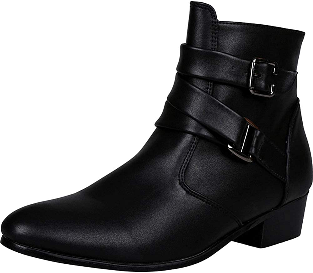 sekesin Mens Pointed Toe Chelsea Boots