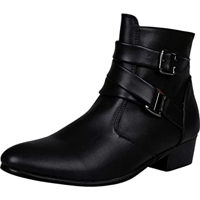 e9db88076 Wealsex Mens Pointed Toe Chelsea Boots Buckle Leather High Top Fashion  Ankle Boots Zip Smart Casual