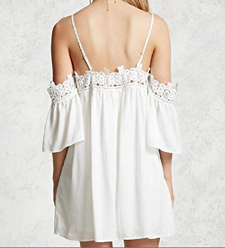 Thin Solid Slip Lace Women's White Coolred Sundress Backless Fitted nqBYAIxwp