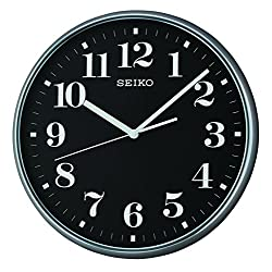 Seiko Quiet Sweep Second Hand Wall Clock - Grey Case with Black Face