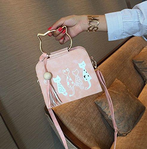 niñas mujer negro para rosa PU gato hombro las Lovely Ear bolsa de Prick Casual bolso baonmy de la CftqwtR