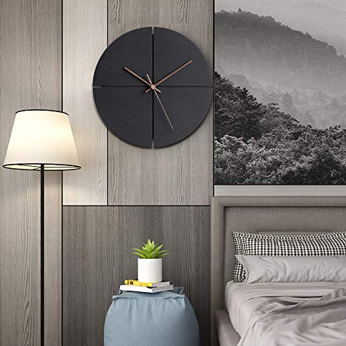 - HROOME Black Wall Clock Battery Operated Non Ticking 12 inch No Numbers Wood Nails Silent Modern Art Decorative Round Hanging Clock for Office Kitchen Living Room (Round-12inch)