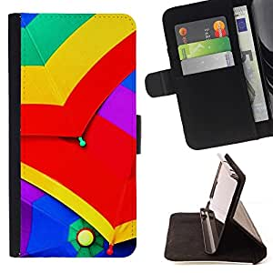 Momo Phone Case / Flip Funda de Cuero Case Cover - Paraguas colorido lluvia Cielo Verde Rojo Amarillo - Motorola Moto E ( 1st Generation )
