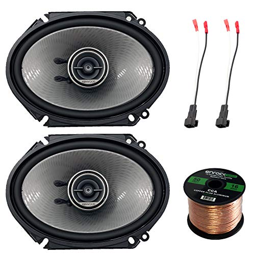 2X Kenwood 360W 6x8 Performance Series 3-Way Black Coaxial Speakers, 4X Enrock 16 Gauge Speaker Harness Adapter W/Red Bullet for Select Ford Vehicles 1998-UP, Enrock Audio 16-G 50 Ft Speaker Wire