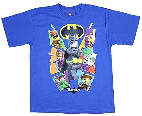 Boys DC Comics Lego Batman Movie Characters Blue Graphic T-Shirt - Small (Legos Movie For Boys)
