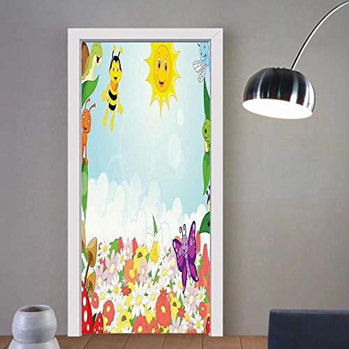 Gzhihine custom made 3d door stickers Kids Bee Butterfly Ant Ladybug Snail Floral Mushroom Caterpillar Baby Animal Spring Image Multicolor For Room Decor 30x79 by Gzhihine
