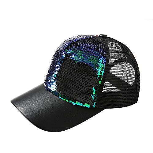 Hot Sales!! ZOMUSAR Sequins Ponytail Baseball Cap Shiny Messy Bun Snapback Hat Sun Caps for Women and Men (Green)