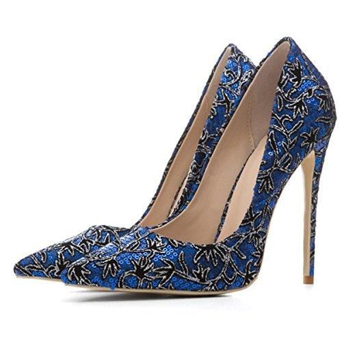 Blue uk Vestir Estilete Lentejuelas Eur Señoras Mujeres Zapatos Zapatillas Alto Puntiagudo Tacón eur44uk10 Corte Nvxie Sexy Del 40 Dedo 7 Fiesta Pie UqRZwO